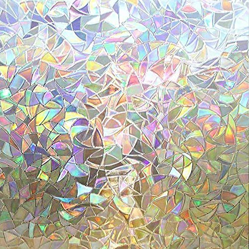 Rabbitgoo 3D No Glue Static Decorative Privacy Window Films for Glass Non-Adhesive Glass Films Anti Uv 23.6in. by 70.8in. (60cm x 180cm)