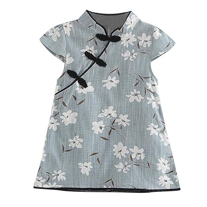 Ropa Bebe Niña K-Youth Vestido de Flores para Niñas Verano Cheongsam Recien Nacido 1-5 años Casual Vestido de Princesa Fiesta Bautizo Vestidos para ...