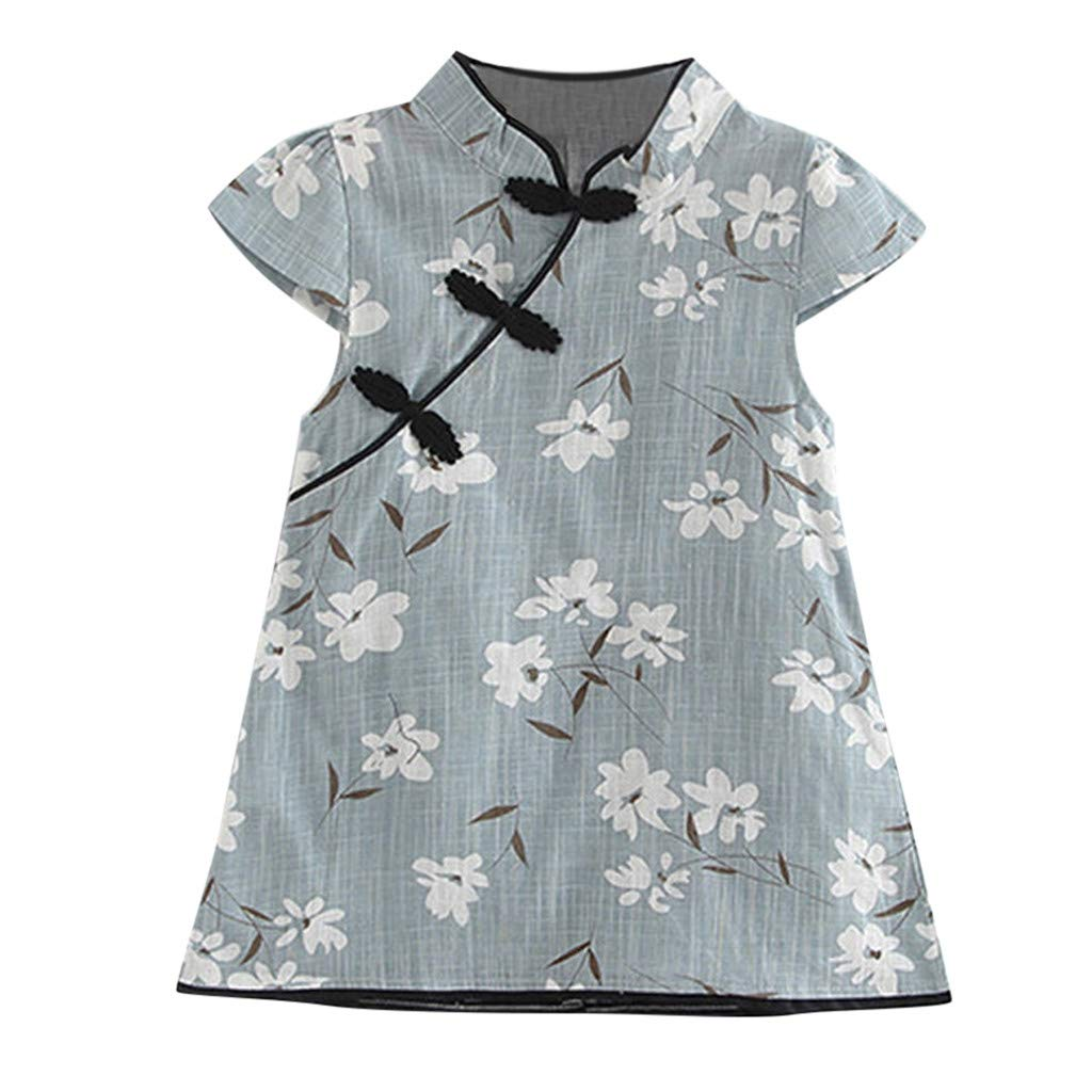 BSGSH Girls Kids Flower Leaves Chinese Qipao Cheongsam Dress Comfy Costume Set (18-24 Months,Blue)