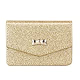 FYY Business Card Holder, Handmade Premium Leather Business Name Card Case Universal Card Holder with Magnetic Closure (Hold 30 pics of Cards) Gold