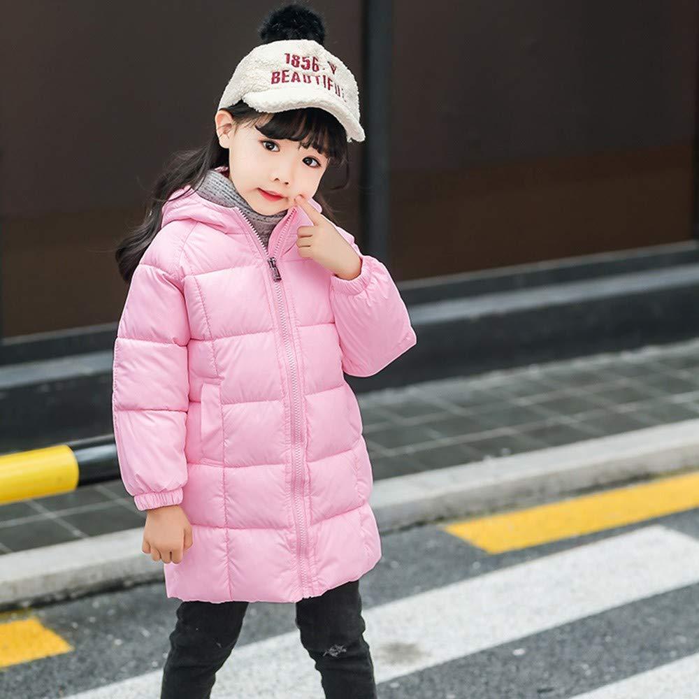1 to 6 Years Kids Winter Overcoat,Wokasun.JJ Solid Warm Hooded Coat Baby Girls Boys Plaid Outwear