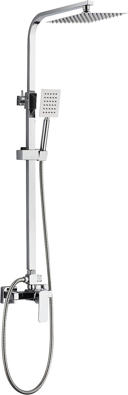 DP Grifería SD31010 Set de ducha extensible en acero inoxidable con grifo monomando, Plateado