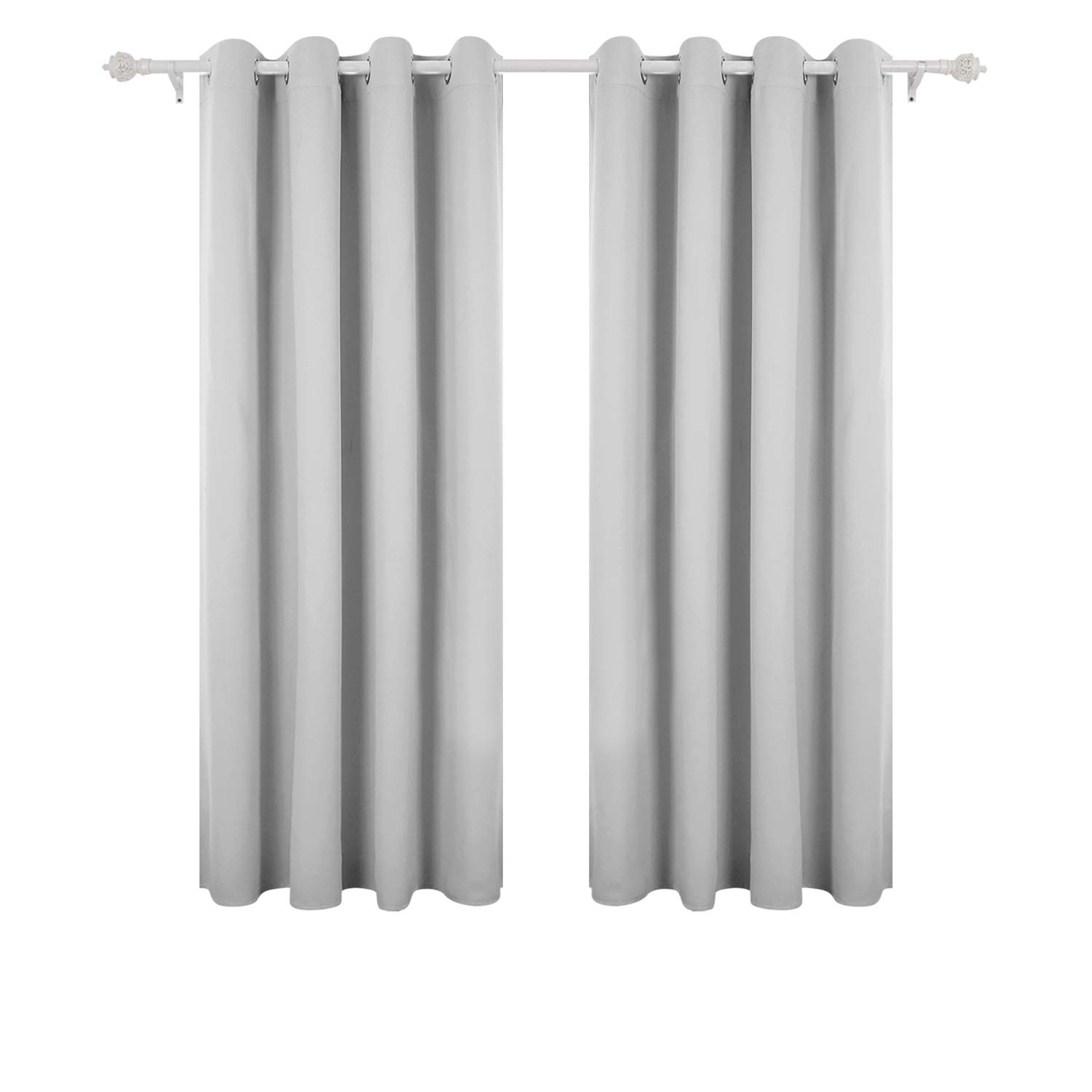 Deconovo Super Soft Solid Thermal Insulated Ring Top Curtains Blackout For Bedroom Including Two Matching