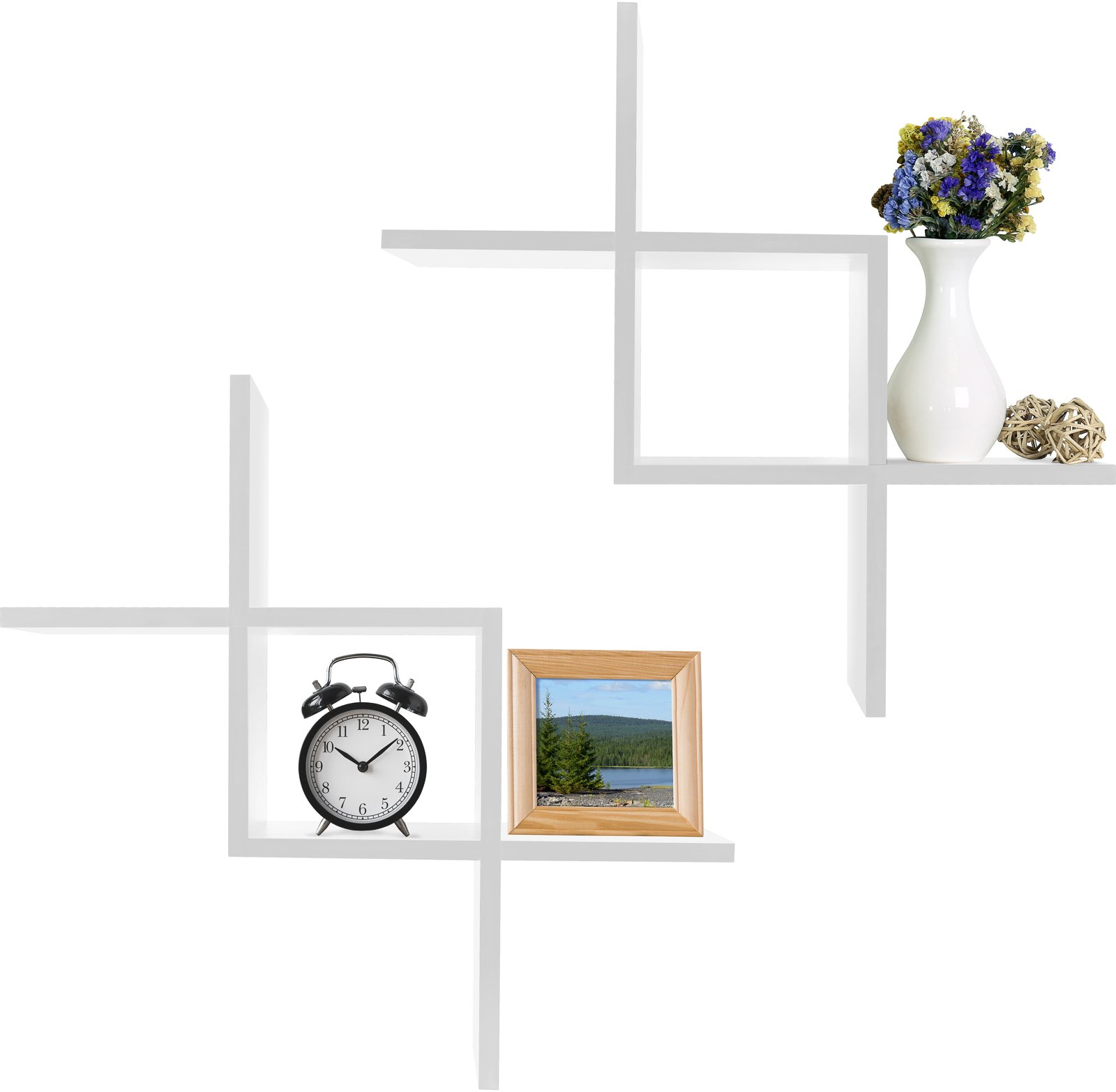 Greenco Criss Cross Intersecting Wall Mounted Floating Shelves Finish, 2-Pack, White