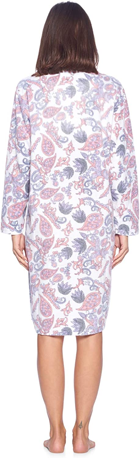 Casual Nights Womens Zip Up Short Sleeve Quilted Duster