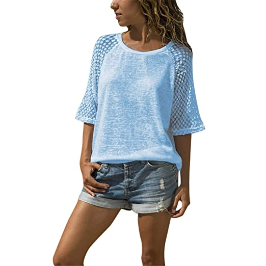 a28a0bfc6eff01 Image Unavailable. Image not available for. Color: TIFENNY Women's Casual  Tops Lace Stitching Half Sleeve Hollow Out Shirt Round Neck Cropped Sleeves  Blouse
