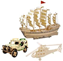 3d Wooden Puzzle Toy Mini Ship Boat Model Puzzle Build Car Fighter Plane Model Kit Toy Best Gift For Adult And Children 3 Set