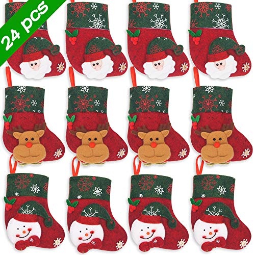 Ivenf Christmas Mini Stockings, 24 Pcs 6.25 inches Felt with 3D Santa Snowman Reindeer, Gift Card Silverware Holders, Bulk Treats for Neighbors Coworkers Kids, Small Rustic Xmas Tree Decorations Set (Best Homemade Christmas Gifts For Coworkers)