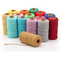 328feet 2mm Macrame Cord, Twisted Cotton Rope, Soft Colorful Craft Cord, Rustic Twine String Cotton Rope for Handmade…