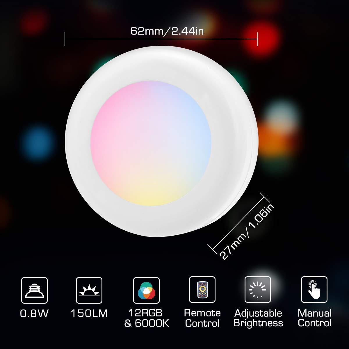Lampe Placard Lot de 6 Veilleuse LED RGB avec 13 Couleurs et 4 modes Lampes de Nuit sans Fil Dimmable Lumi/ère Armoire avec Contr/ôle Tactile et T/él/écommande Aliment/é par Batterie