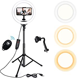 Endurax 10'' Selfie Ring Light with Stand 51'' and Phone Holder, Dimmable LED Circle Light Ringlight for Video Recording/Streaming
