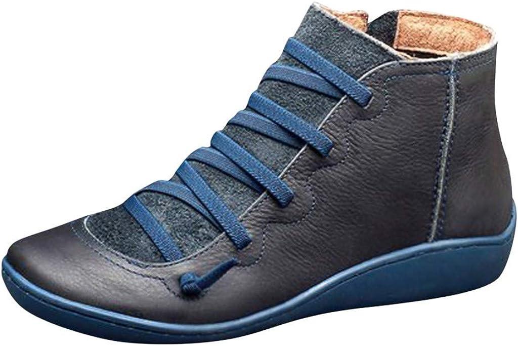 Psunrise Leather Ankle Boots Autumn Vintage Lace Up Women Shoes Comfortable Flat Heel Boots Zipper Short Boot