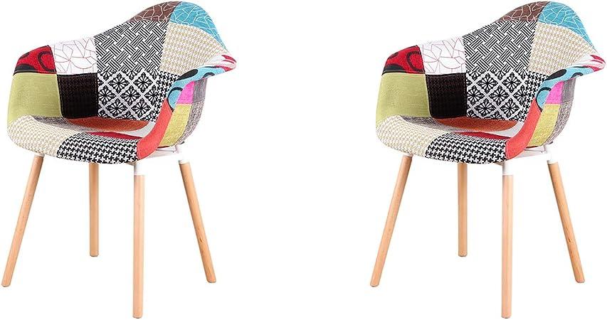 Blu ArtDesign FR Set di 2 Poltrone Patchwork Multicolore Tessuto in Lino Tempo Libero Sedie ad Angolo Sedie per Reception con Schienale Cuscino Morbido