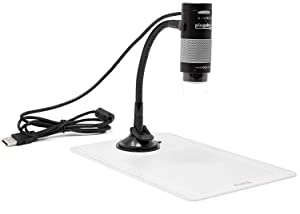 Plugable USB 2.0 Digital Microscope with Flexible Arm Observation Stand for Windows, Mac, Linux (2 MP, 250x Magnification).