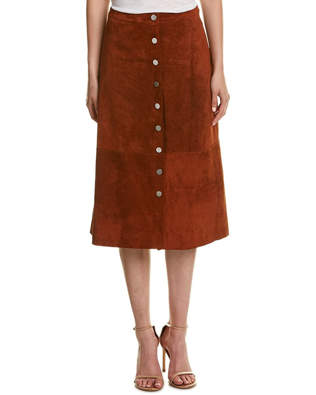 Diane von Furstenberg Womens Gracelynn Suede Skirt, 2, Brown