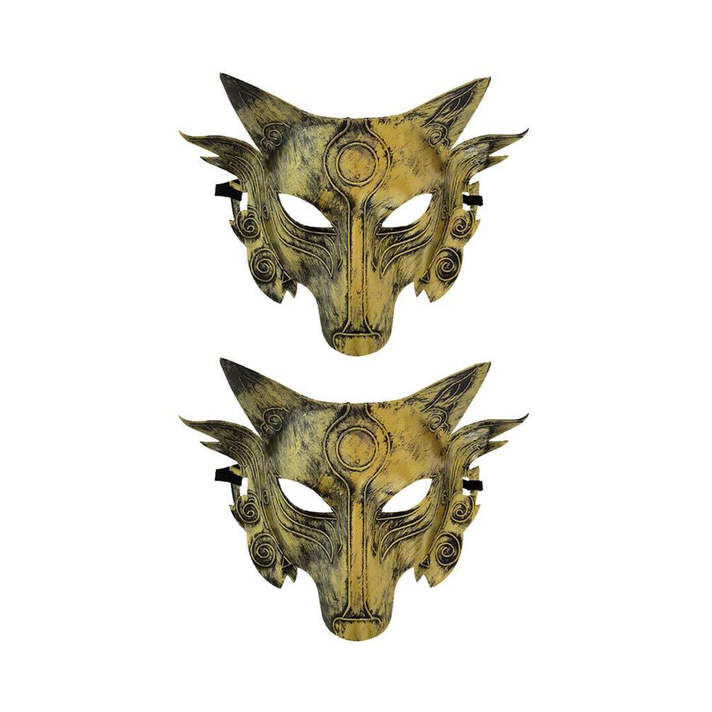 Amosfun 2 Piezas m/áscara de Halloween m/áscara de Lobo Animal Mascarada favores de Fiesta de Halloween