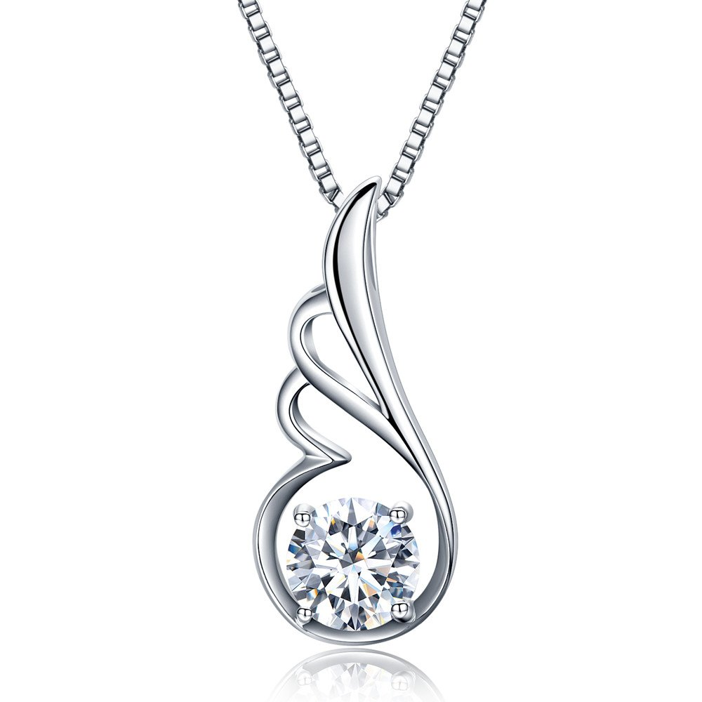 Angel Wing Pendant Necklace Swarovski Zircon Jewelry for Women Girls Ideal Christmas Gifts Birthday Gifts for Daughter Granddaughter Girlfriend Mother Wife (White) (White)