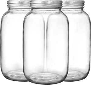 Bedoo 3 Pack Mason Jars 64 oz Wide Mouth with Lid and Band, Half Gallon Mason Jars with Airtight Lids , Clear Glass Mason Jars (Set of 3) (Wide Mouth)