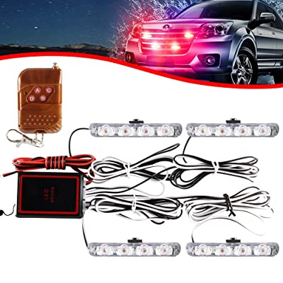 KaiDengZhe 4x4 LED 4 in 1 Surface Mount Grill Light DC12V Wireless Remote Emergency Flashing Beacon Lamp Ambulance Police Light Strobe Warning External Light For Truck Trailer Caravan Van (Red): Automotive