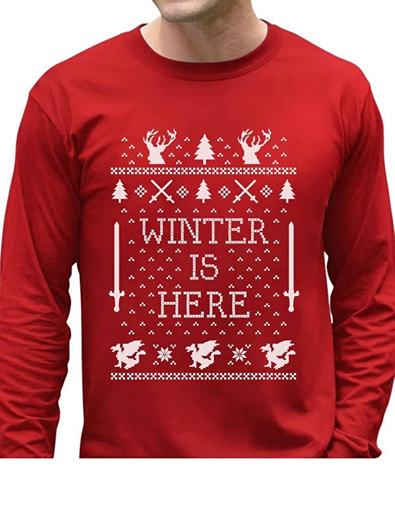 Winter Is Here Funny Christmas Coming Ugly Christmas Sweater Long Sleeve T-Shirt GhPharhgC