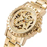 Gute Classic All Golden Mechanical Wristwatch Automatic Hip-hop Skeleton Luminous (Gold)