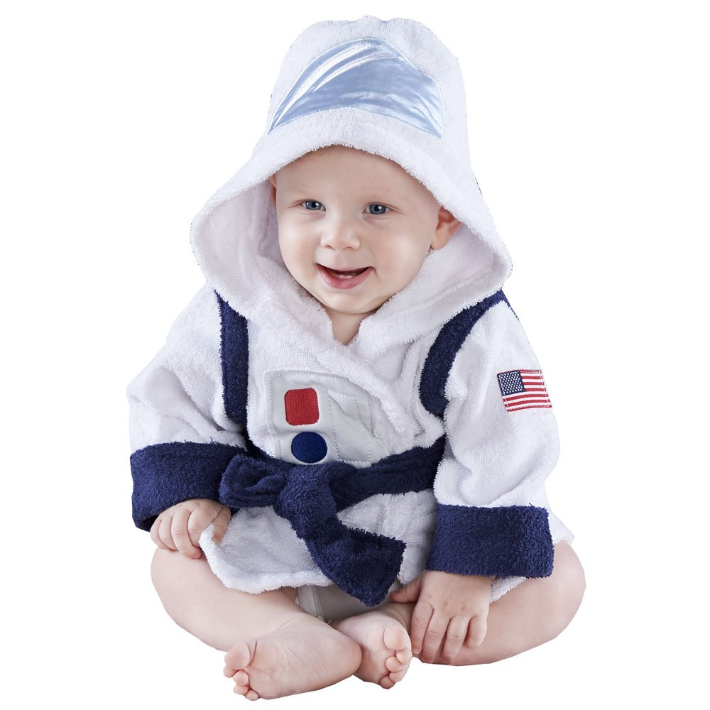 Baby Aspen Cosmo Tot Astronaut Hooded Spa Robe, White/Blue/Red