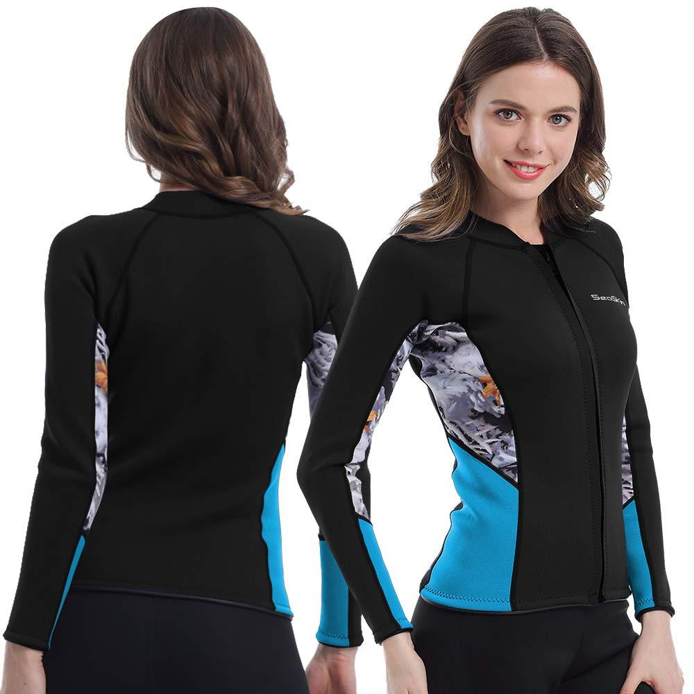 Womens Wetsuit Top, 2mm Zip Wetsuit Jacket Long Sleeve for Canoeing Sea Kayaking Snorkeling Diving Water Aerobics (Black, 2XL) by Seaskin
