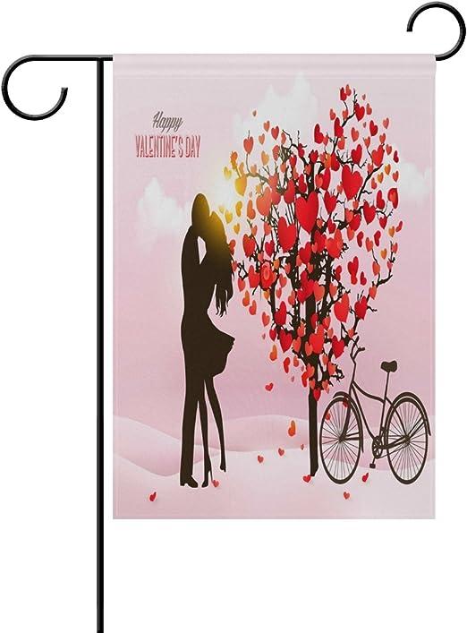 wozo día de San Valentín corazón árbol bicicleta jardín bandera ...