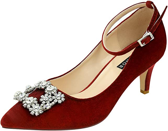 Women Satin Low Kitten Heel Full Round Toe Ankle Strap Shoes Occasion Dress Size