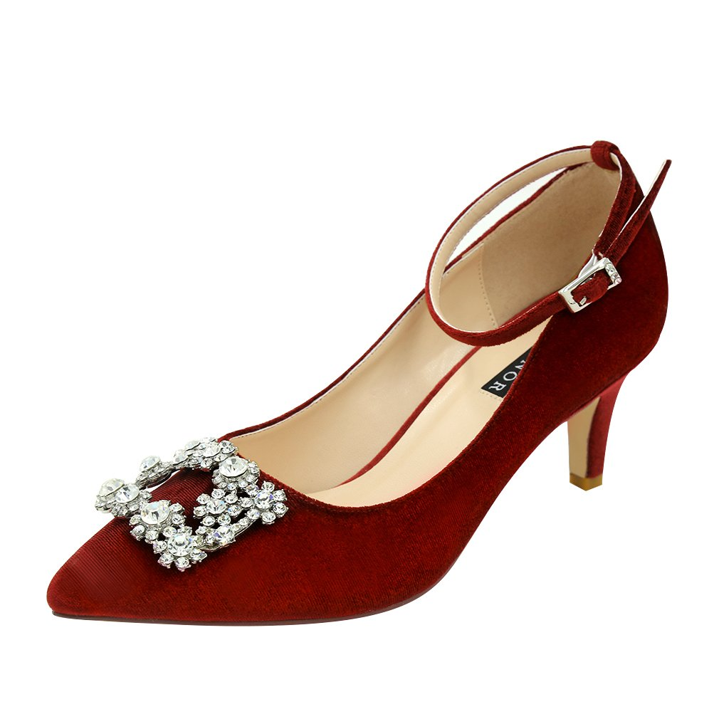 ERIJUNOR E2359 Low Heel Pumps for Women Comfort Kitten Heels Rhinestone Brooch Evening Dress Shoes Burgundy Size 10