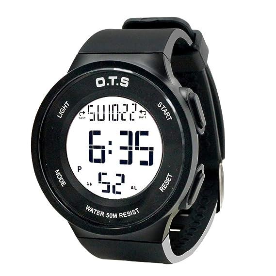 OTS - Reloj Electrónico de Digital Gran Pantalla para Niño Niña Relojes de Pulsera Impermeable para Ducharse Nadar Surf Reloj Multifuncionales de ...