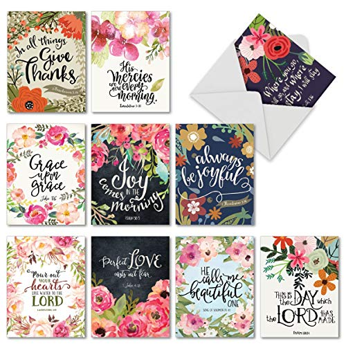 10 Religious Watercolor Note Cards with Envelopes - All-occasion Blessings Bible Verse Blank Greeting Cards - Floral Painted for Holidays, Thank You, Baby - Notecard Set 4 x 5.12 inch M6634OCBsl