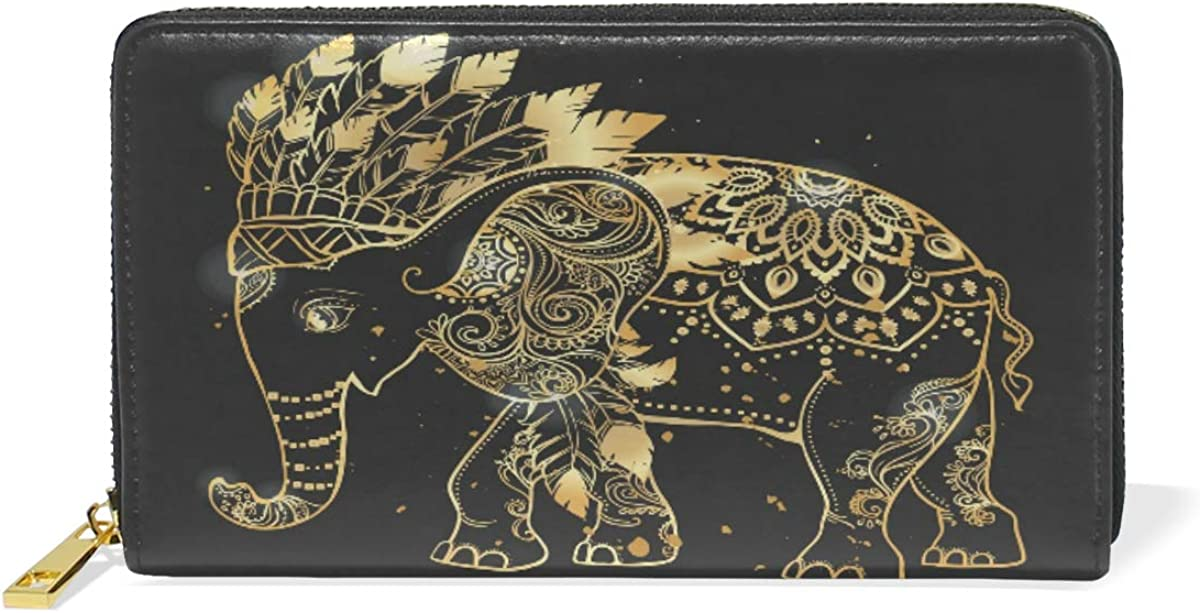 Afric Lucky Elepant Bless Wallet for Women Leather Zipper Phone Coin Purse