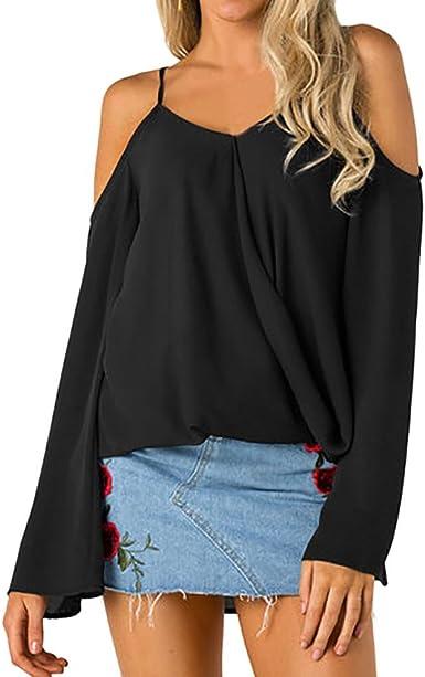 Blusa Mujer, Camisas sin Hombros Gasa Elegantes Casual Tallas Grandes Manga Larga Camiseta Blusas Tops para Mujer Fiesta en la Playa (S, Negro): Amazon.es: Ropa y accesorios