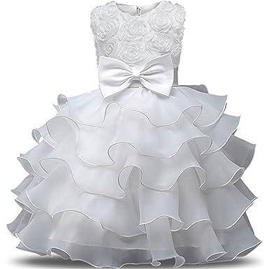 Eudolah Vestito da ragazza con increspature in tulle con perla per la cerimonia  di sera  Amazon.it  Abbigliamento 03b1310a39e