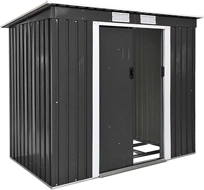 TecTake Cobertizo caseta de jardín metálica de Metal Invernadero almacén | + fundación Modelos (Tipo 4 | Gris | no. 402569): Amazon.es: Jardín