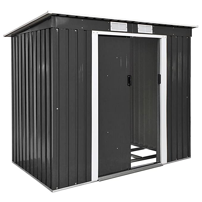 TecTake Cobertizo caseta de jardín metálica de metal invernadero almacén | + fundación | disponible en diferentes colores y modelos (Tipo 4 | gris | no.