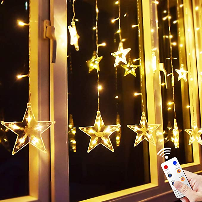 TOFU Star Curtain Lights, 138 LED 12 Stars Remote Window Curtain String Lights Plug in with 8 Flashing Modes Decoration for Christmas, Wedding, Bedroom, Party, Birthday, 7.3ft(W)×3.3ft(H), Warm White