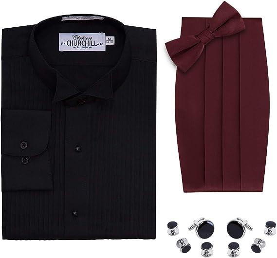 S.H. Churchill & Co. Camisa de Esmoquin para Hombre, Color Negro, Pajarita y cornudo, Juego de broches Plateados - Rojo - M (15 Cuello 30/31 Manga): Amazon.es: Ropa y accesorios
