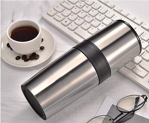 Cafetera Cafetera De Viaje Pequeña Máquina De Café Manual Espresso Portáti,Multifuncional, Almacenar Granos De Café, Moler Frijoles, Ponche De Mano, Filtrar, Beber,Silver: Amazon.es: Hogar