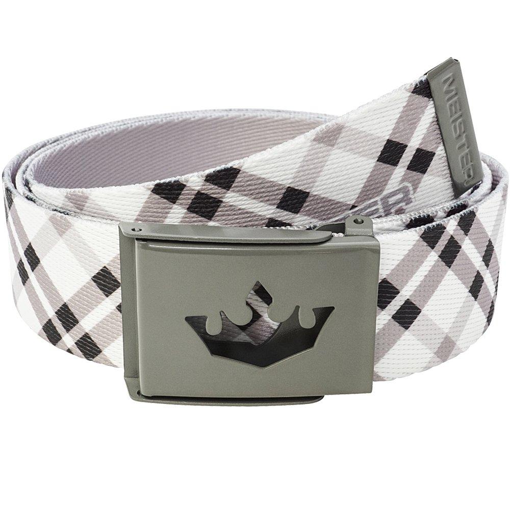 Meister Player Golf Web Belt - Adjustable & Reversible - Modern Plaid