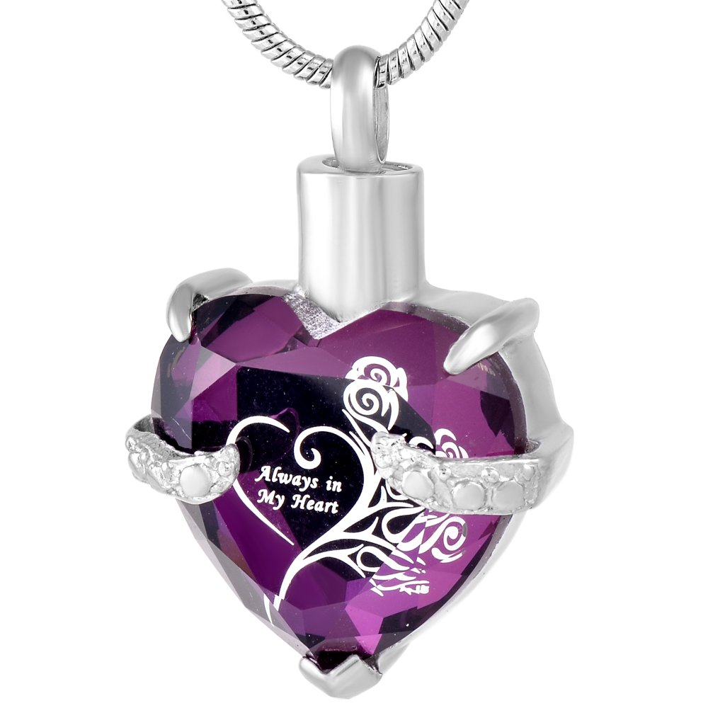 constantlife Purple Always in My Heart Crystal&Stainless Steel Cremation Jewelry Urn Necklace for Ashes
