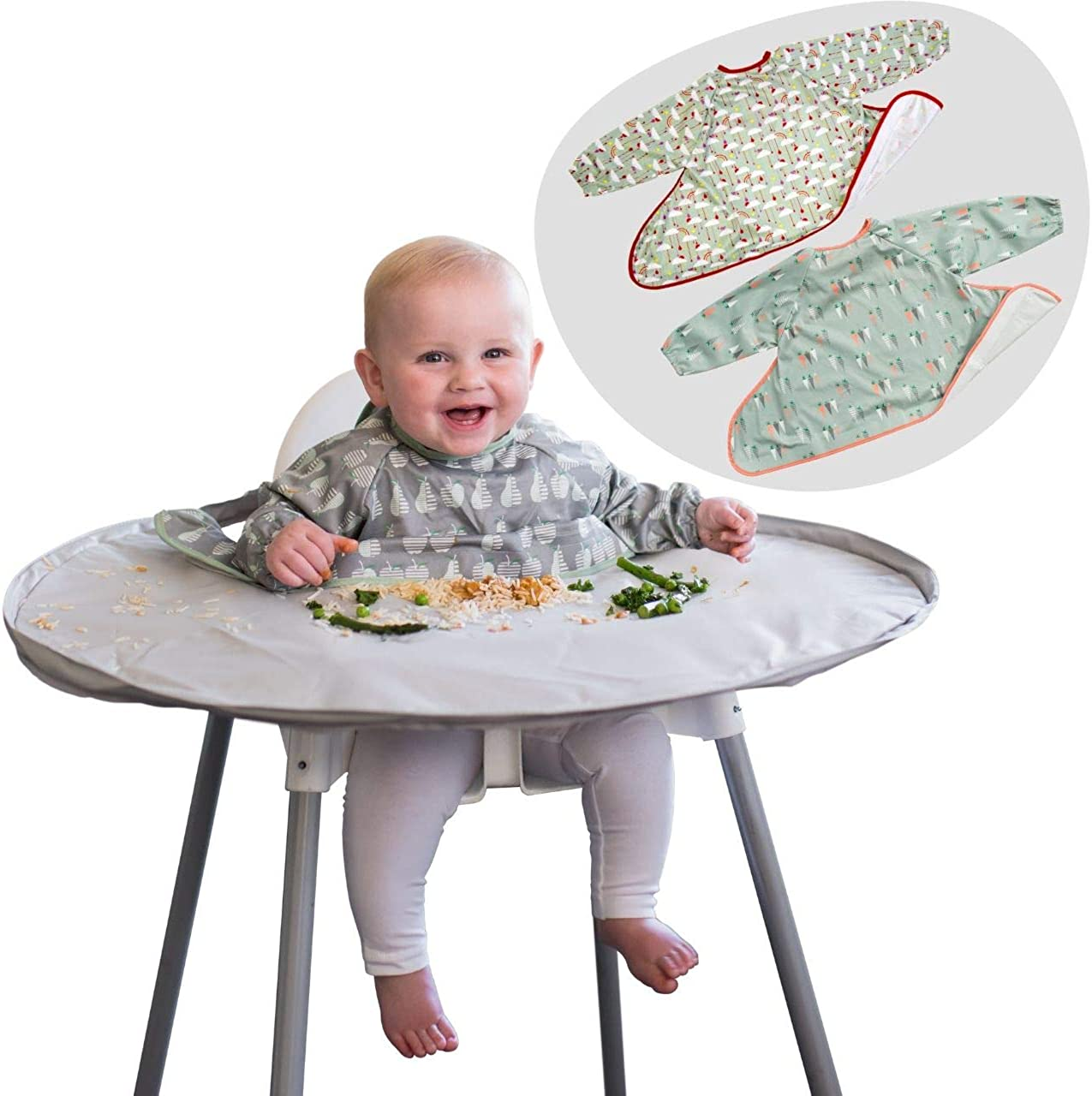 Weaning Bib and Tray Kit Bundle- Tidy Tot Tray + 3 Coverall Food Catcher Bibs with Sleeves. Baby Led Weaning Bib Essential! Perfect for Messy Play and Baby weaning