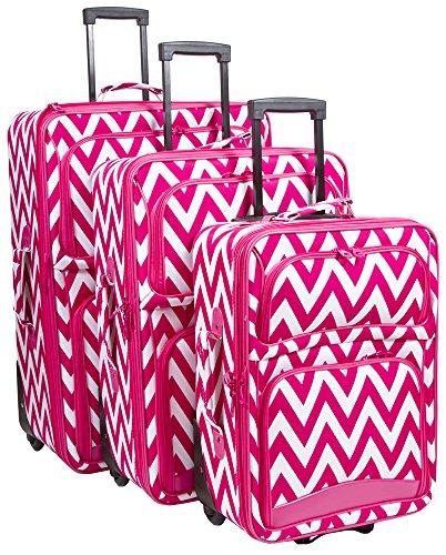 Ever Moda Chevron 3 Piece Luggage Set (Pink)