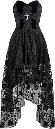 Darkinlove Robe Bustier Noire Dentelle Et Broderie Floral Velours Et Croix Gothique Romantique Amazon Fr Vetements Et Accessoires