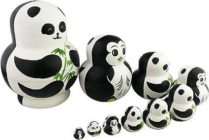 Winterworm/® Adorable Lovely Panda Holding Bamboo Handmade Wooden Russian Nesting Dolls Matryoshka Dolls Set 7 pieces For Kids Toy Birthday Christmas Gift Home Decoration