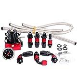 SUNROAD Universal Adjustable Aluminum Fuel Pressure Regulator Valve Kit + 100 Psi Pressure Gage AN6 Fitting Connectors Kit Black & Red
