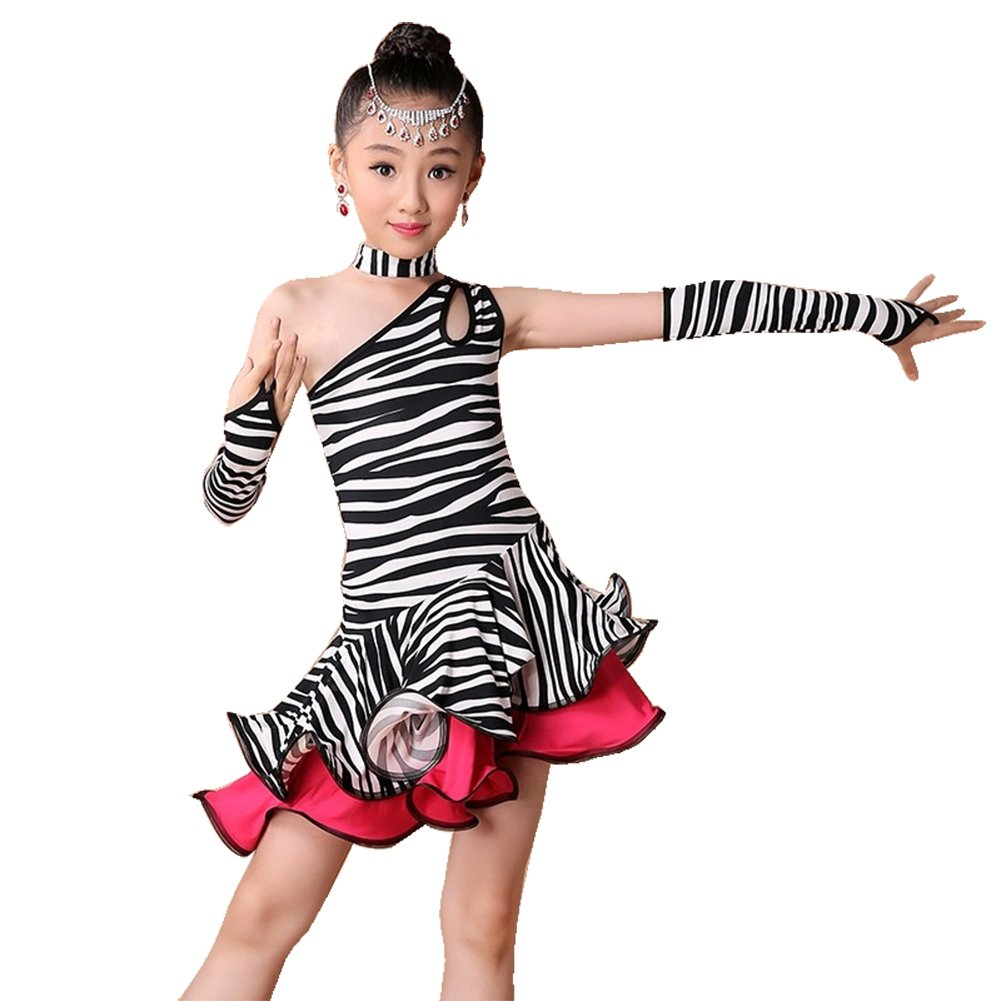 Amazon.com: Children Girls Leopard Stripe Latin Dance Dress Rumba Samba Dance Costume: Clothing