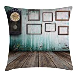 Queen Area Clock Decor A Vintage Clock Empty Picture Frames in an Old Room Wooden Backdrop Square Throw Pillow Covers Cushion Case Sofa Bedroom Car 18x18 Inch, Green Brown