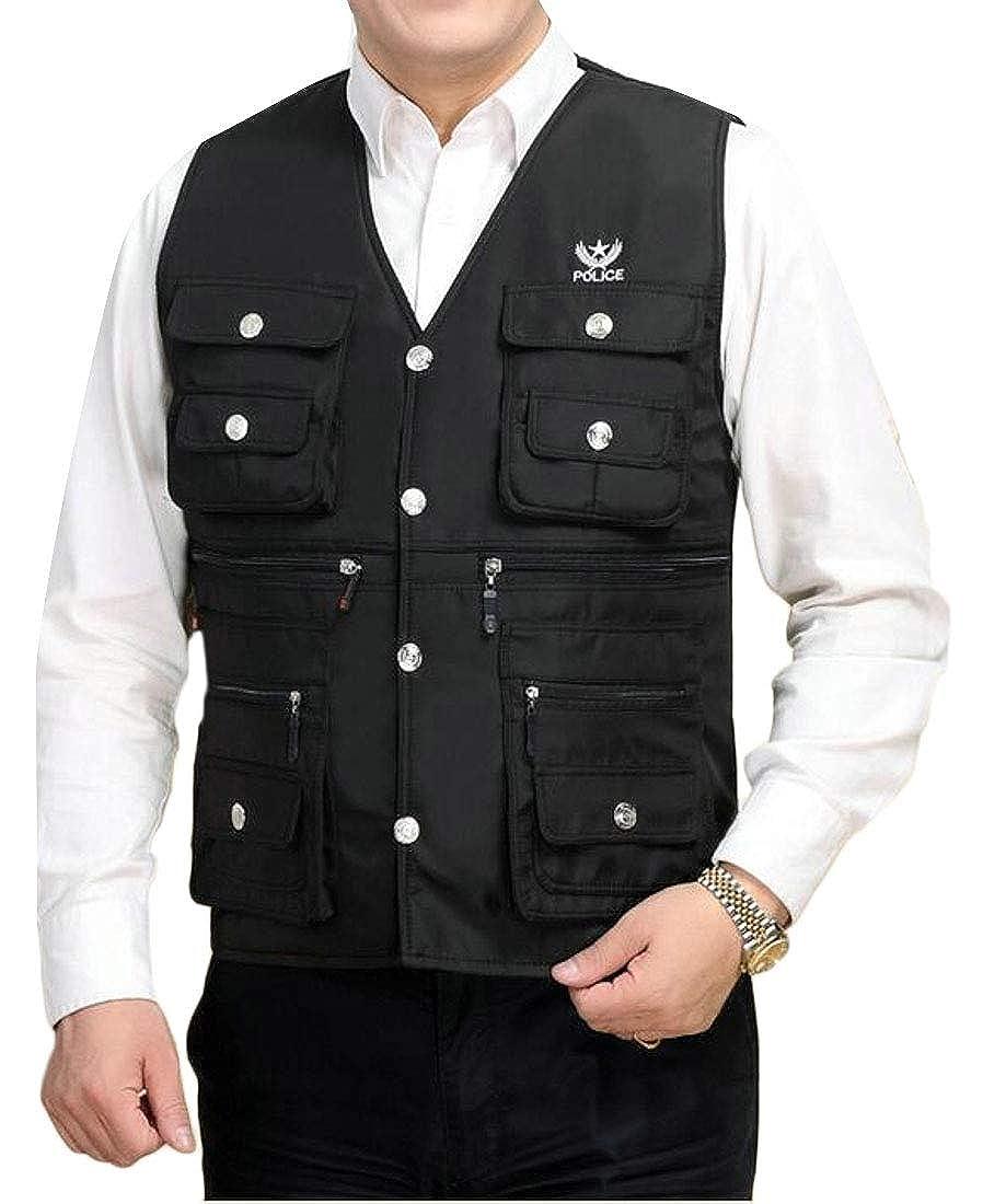 pipigo Men Fleece Lined Thermal Plus Size Fishing Work Utility Vest Military Photo Safari Travel Vest